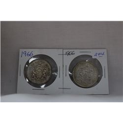 Canada Fifty Cent Coin (2) 1966 - Silver