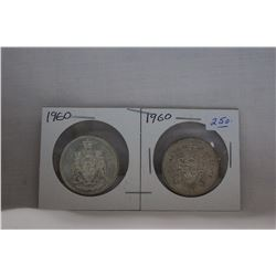 Canada Fifty Cent Coin (2) 1960 - Silver