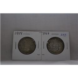 Canada Fifty Cent Coin (2) 1958 - Silver