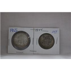Canada Fifty Cent Coin (2) 1955 - Silver
