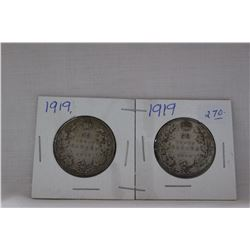 Canada Fifty Cent Coin (2) 1919 - Silver