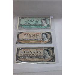 1954 Canada Bills (3) Modified - $1.00, $50.00, $100.00