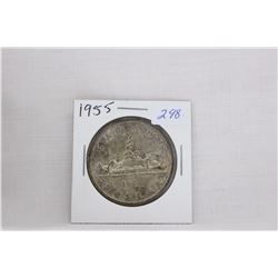 Canada Dollar Coin (1) 1955 - 2 1/2 Water Lines - Silver