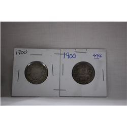 Canada Twenty-Five Cent Coins (2) 1900 - Silver