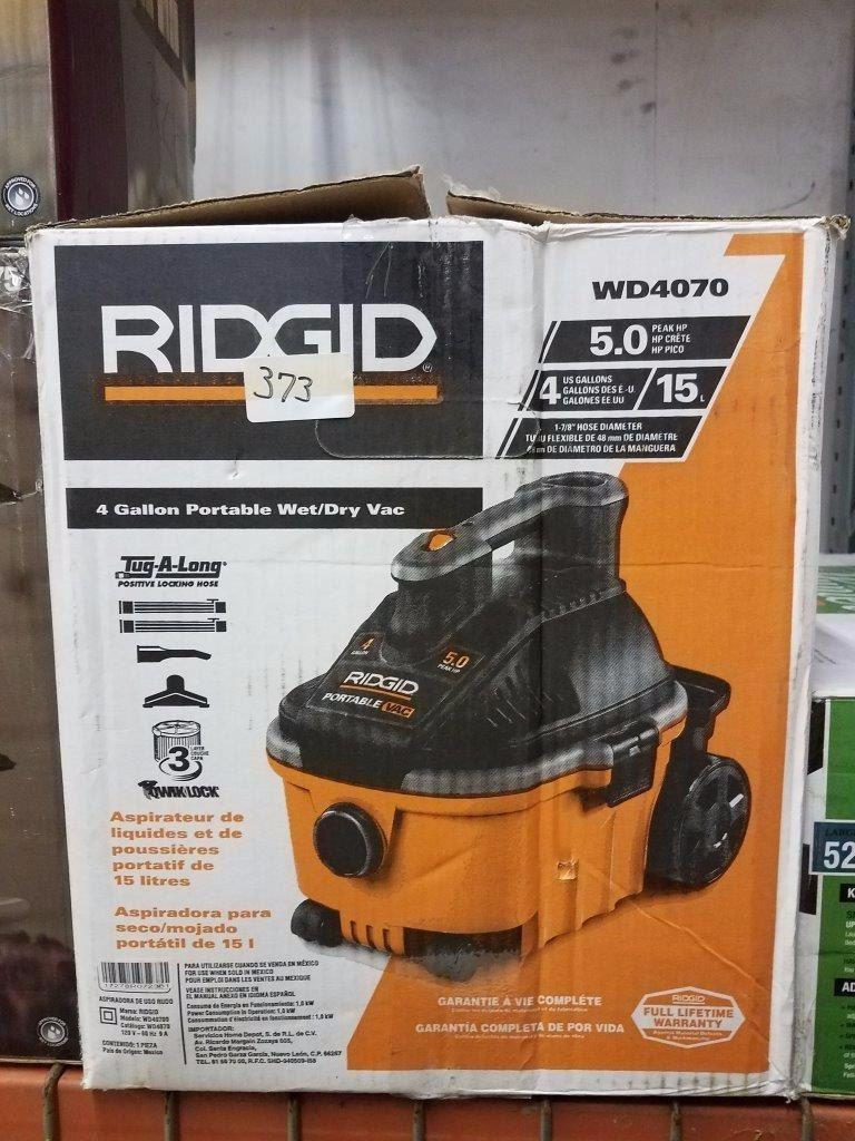 RIDGID 4 Gallon Portable Wet/Dry Vac