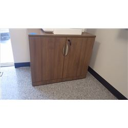 CUSTOM BUILT WALNUT WOOD GRAIN 3' - 2DR CABINET W/LOCK