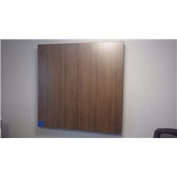 4' X 4' CUSTOM BUILT WALNUT WOOD GRAIN WHITE BOARD CABINET