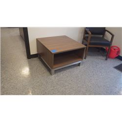 "CUSTOM BUILT WALNUT WOODGRAIN 29"" X 29"" OFFICE RECEPTION AREA TABLE"