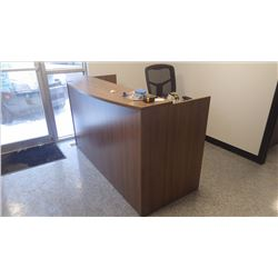 CUSTOM BUILT WALNUT WOODGRAIN RECEPTION DESK (6')
