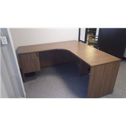 "L-SHAPE 66"" X 66"" WALNUT WOODGRAIN CUSTOM BUILT OFFICE DESK W/LOCKED DRAWER"