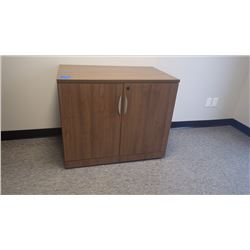 CUSTOM BUILT WALNUT WOODGRAIN 3' - 2DR CABINET W/LOCK