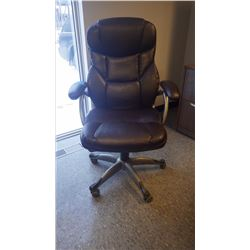 BLACK LEATHER ADJUSTABLE OFFICE CHAIR