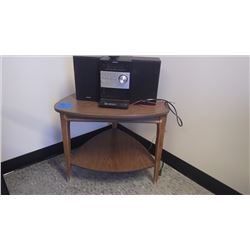 WAL CORNER TABLE W/SHELF PLUS SONY MINI STEREO W/DOCKING STATION