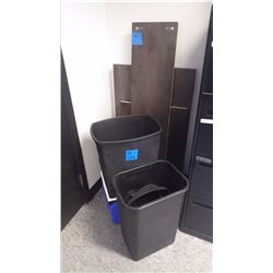3 - WOOD SHELVES PLUS 3 GARBAGE CANS