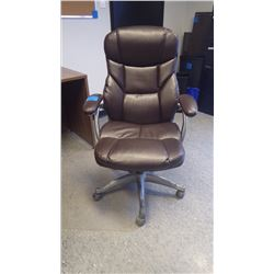 BROWN ADJUSTABLE LEATHER OFFICE CHAIR