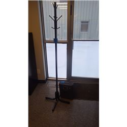 BROWN METAL TUBE COAT TREE W/B+D PAPER SHREDDER