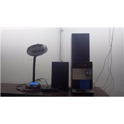 SONY MINI STEREO W/DOCK STATION AND DESK LAMP