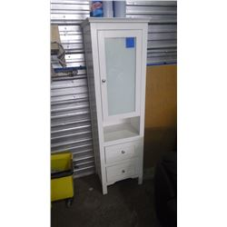 "18"" X 63"" WHITE CABINET W/GLASS DOOR"