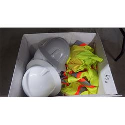 BOX  WITH HARD HATS AND HIGH VIS VESTS