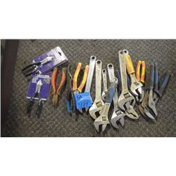 ASSORTED WRENCHES AND PLIERS AS PICTURED