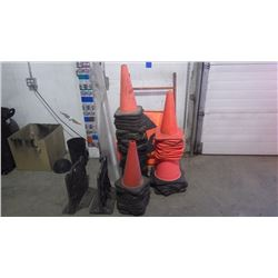 "APPROXIMATELY 59 PYLONS / 1 ""MEN AT WORK"" SIGN AND SET OF REEL STANDS"