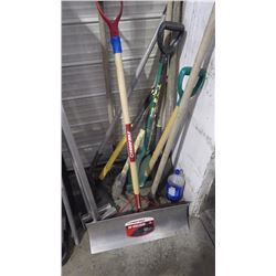 TROY BUILT NEW ALUMINUM SHOVEL, PIC AXE, AND ALL TOOLS PICTURED