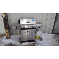 STAINLESS STEEL CUISINART PROPANE  BBQ 3 BURNER MAIN WITH INFRA RED REAR ROTISSERIE BURNER AND SIDE