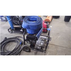 "7 HP POWER FIST GAS WATER PUMP WITH HOSE. 3"" INLET AND OUTLET 264 GPM MAX FLOW"