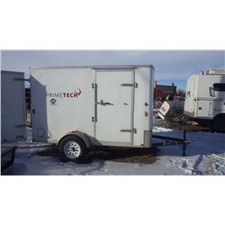 ENCLOSED TRAILER WITH SIDE DOOR, BARN DOORS AT REAR, TWO METAL WALL HUNG CABINETS