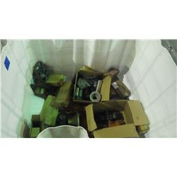 PALLET WITH BIN OF MISC. PUMP PARTS / FLANGES / IMPELLARS / COUPLERS / SLEEVES, ETC.