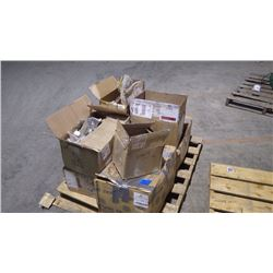 PALLET WITH COUPLERS / USED PUMP / MISC. PARTS / HUB AND MISC.