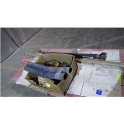 PALLET OF 2 4X8 FIBERGLASS SHEETS / FIBERGLASS CORNERS / DRIVE SHAFT AND  METAL FLANGES