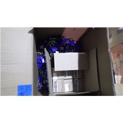 BOX OF APPROXIMATELY 136 BLUE PADLOCKS WITH KEYS