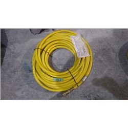 "APPROX 50' KURITEC 1/2"" 300 PSI YELLOW AIR HOSE WITH DELUXE LOCKING COUPLERS USA MADE"