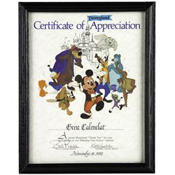 Disneyland Certificate of Appreciation.