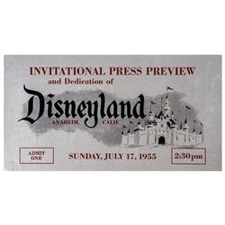 Disneyland Opening Day Press Preview Ticket.