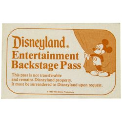 Disneyland Entertainment Backstage Pass.