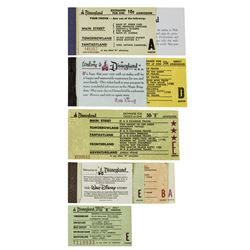 Collection of (7) Disneyland A-E Tickets.