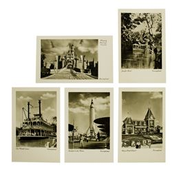 "Set of (5) German ""Real Photo"" Disneyland Postcards."
