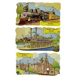 Set of (3) Die-Cut Disneyland Postcards.