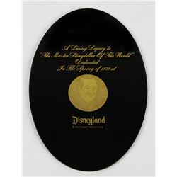Walt Disney Legacy Smoked Glass Plaque.