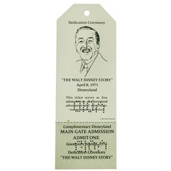 The Walt Disney Story Dedication Ceremony Ticket.