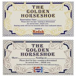 """Pair of """"Golden Horseshoe"""" Reservation Tickets."""