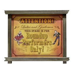 Roundup Performers Only Hinged Sign.