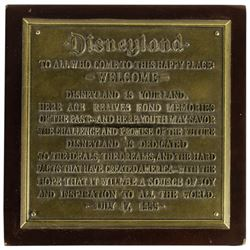 Disneyland Dedication Plaque Limited Edition.