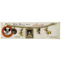 """Annette Funicello """"Mickey Mouse Club"""" 5-Charm Bracelet."""