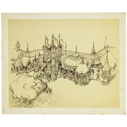 "Ken Anderson ""Peter Pan's Flight"" Building Concept Drawing."