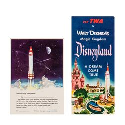 TWA Disneyland Brochure and Lunar Flight Certificate.