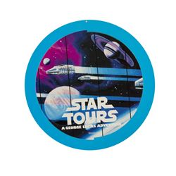"Star Tours and ""Captain EO"" Double-Sided Hanging Sign."