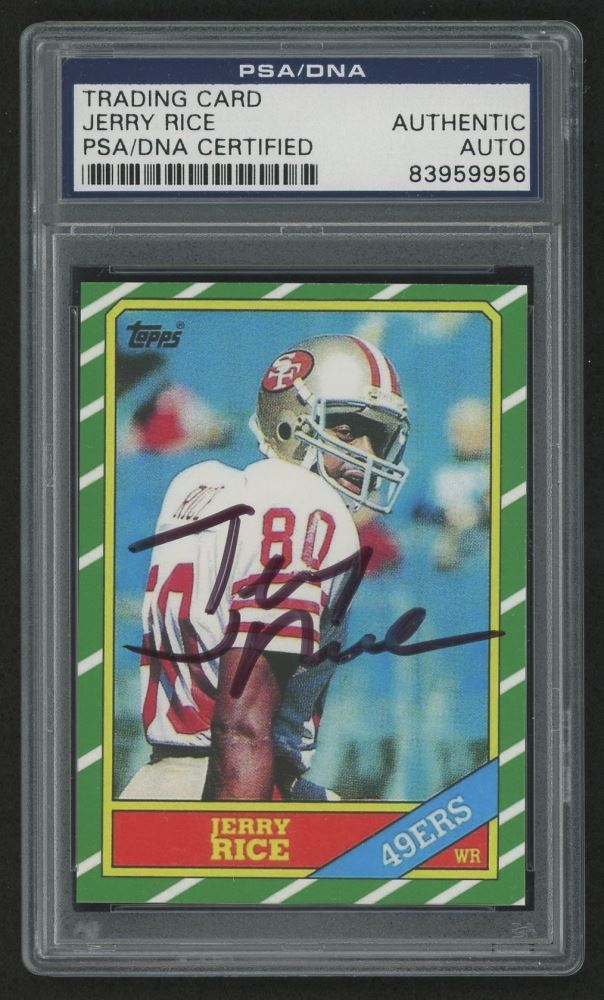 Jerry Rice Signed 1986 Topps 161 Rookie Card Reprint Psa